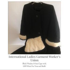 ILGWU - Sz L/XL Woolen A-line Cape with Fur Muff